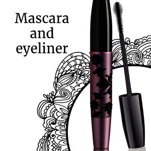 Mascara and eyeliner